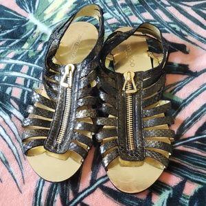 JIMMY CHOO Gold Zip Sandals Size 37/7